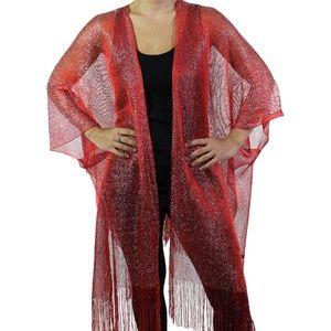 Jackets & Blazers - Red & Metallic Fishnet Ruana Cape